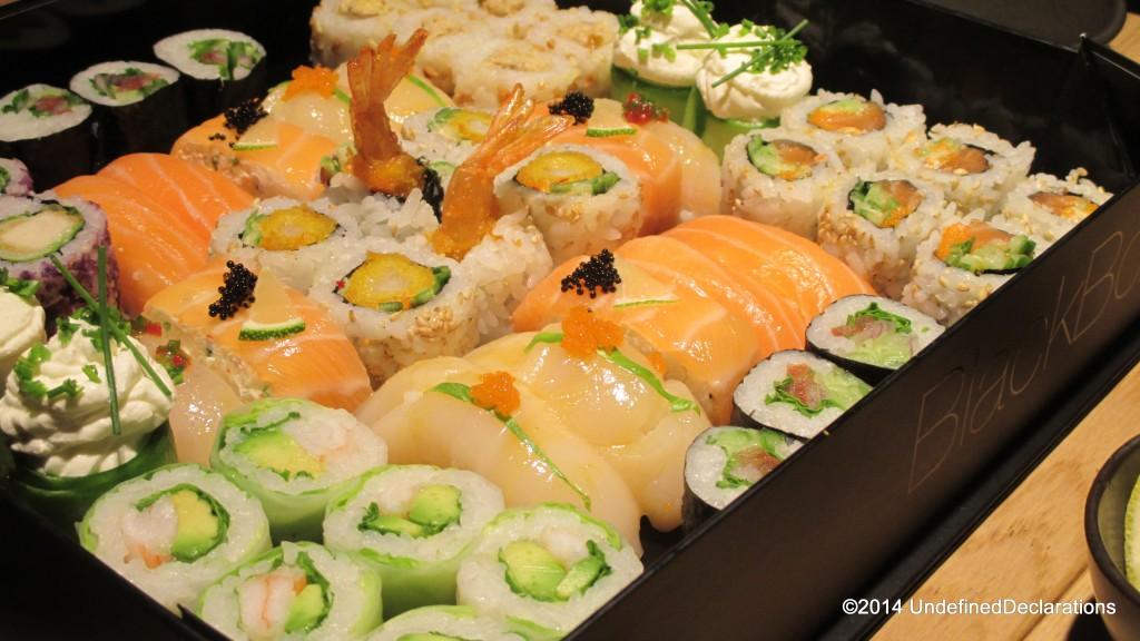 close-up of the Black Box at Sushi Art