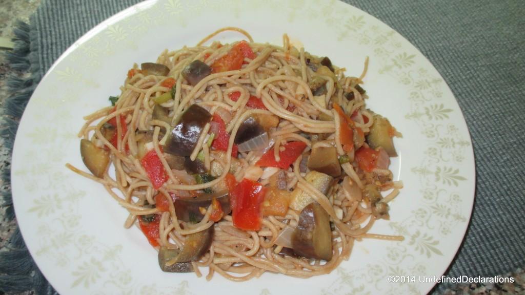 Aubergine and Chilli Pasta