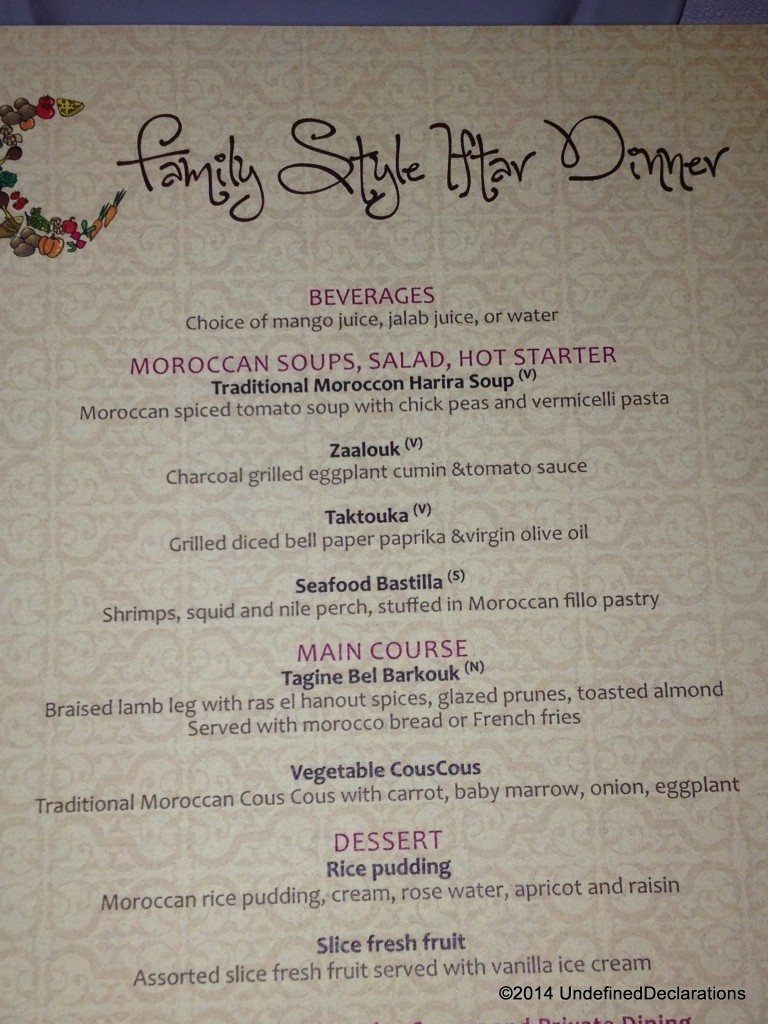 Iftar Menu at Four Points By Sheraton SZR
