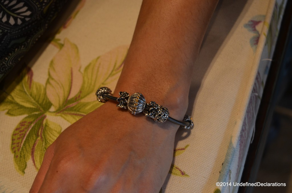 Pandora bracelet with oxidized charms