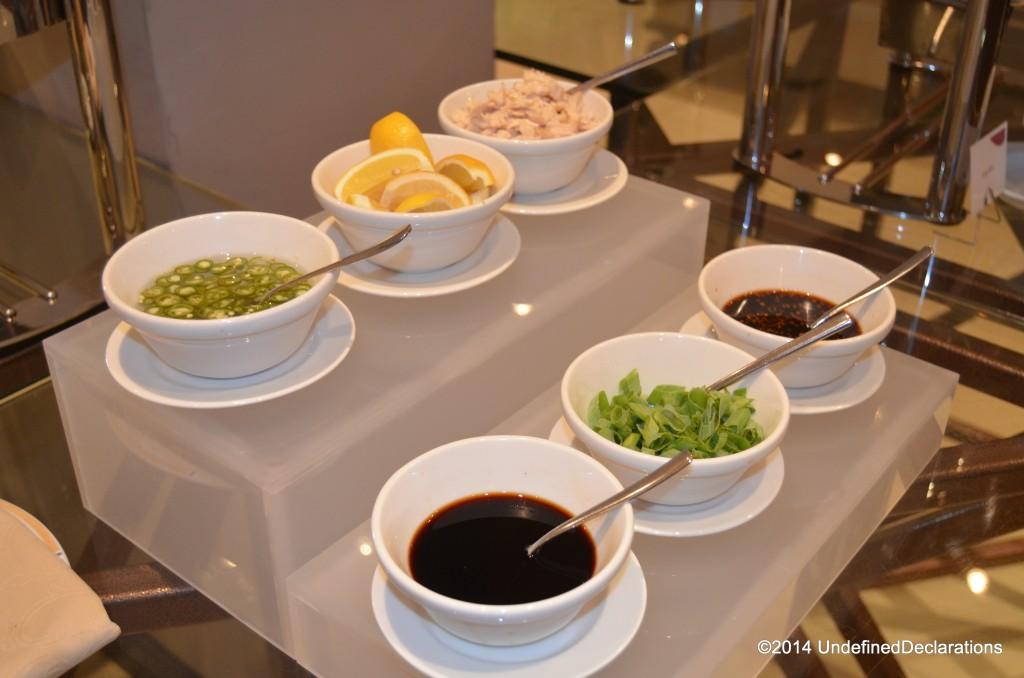 Asian corner condiment table