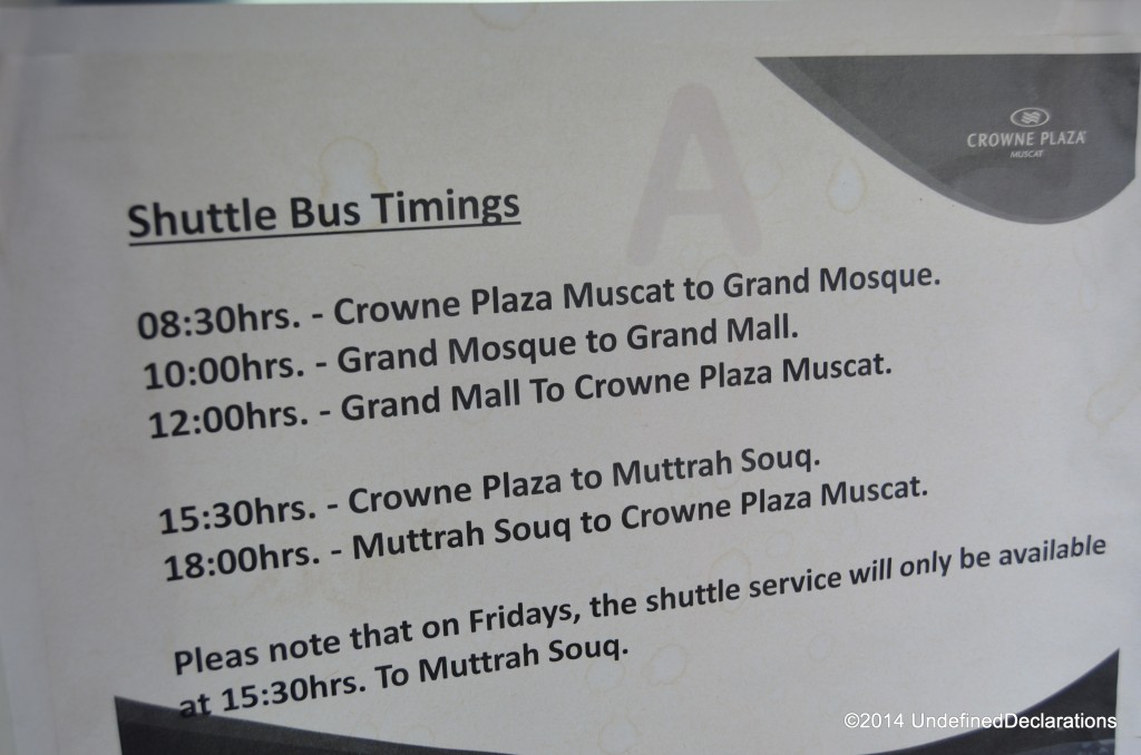 Shuttle bus timings