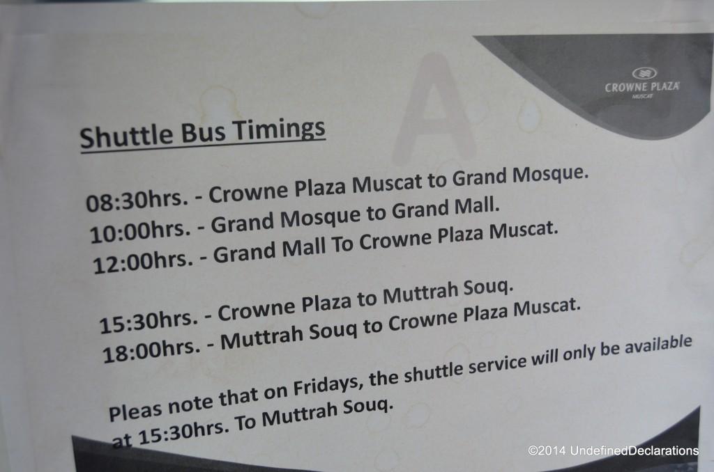 Shuttle bus timings