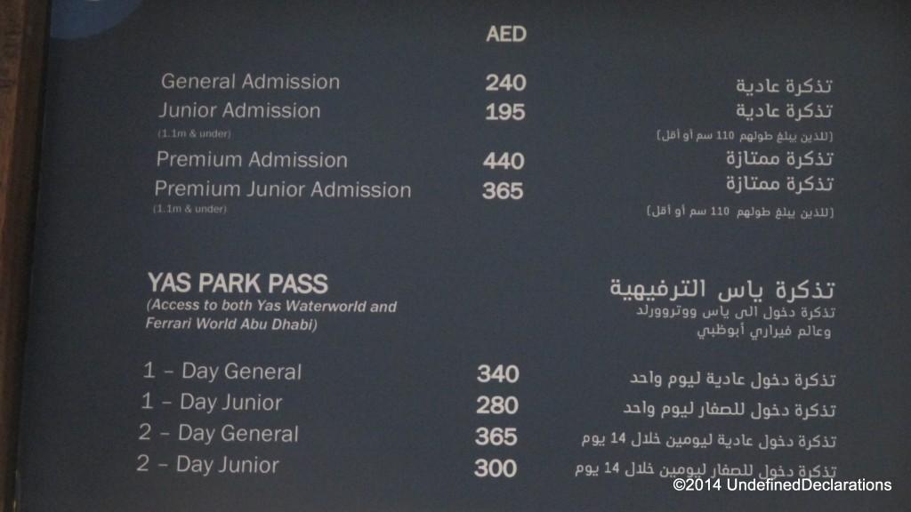 Yas Waterworld ticket prices