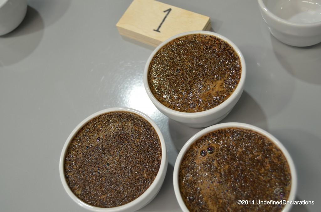 Brewed coffee tasting cups