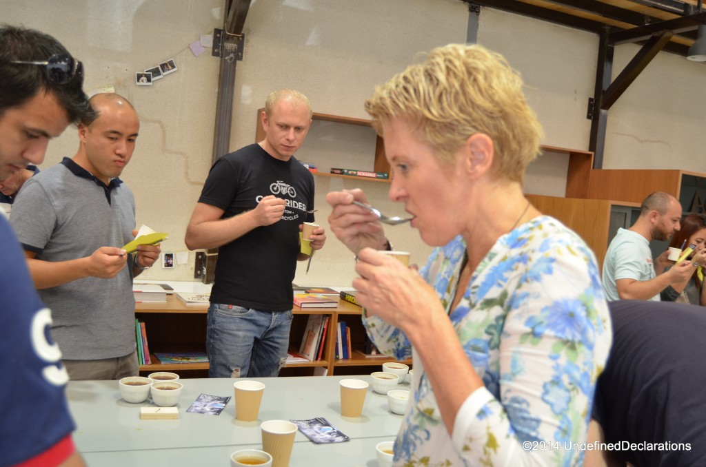 Kim Thompson samples coffee at the event
