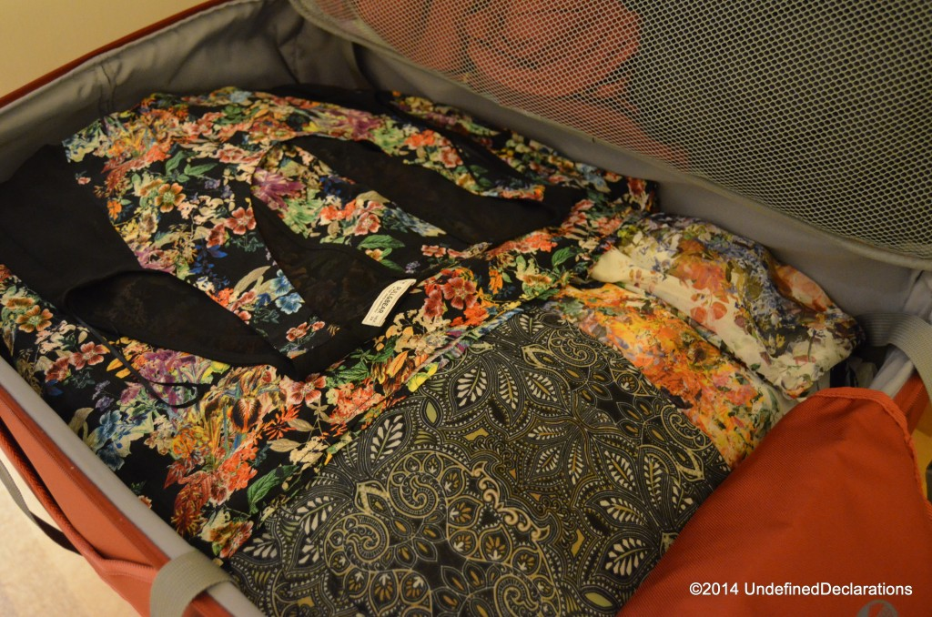A suitcase full of my own outfits.