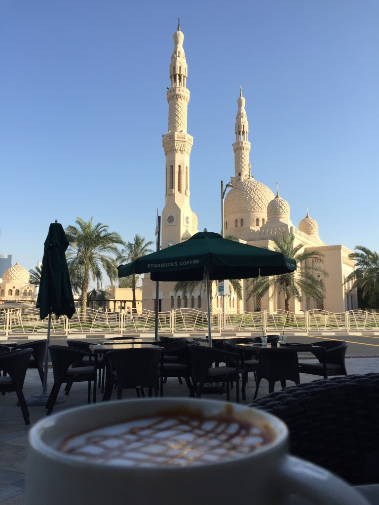 Jumeirah Mosque view at this Starbucks Middle East location