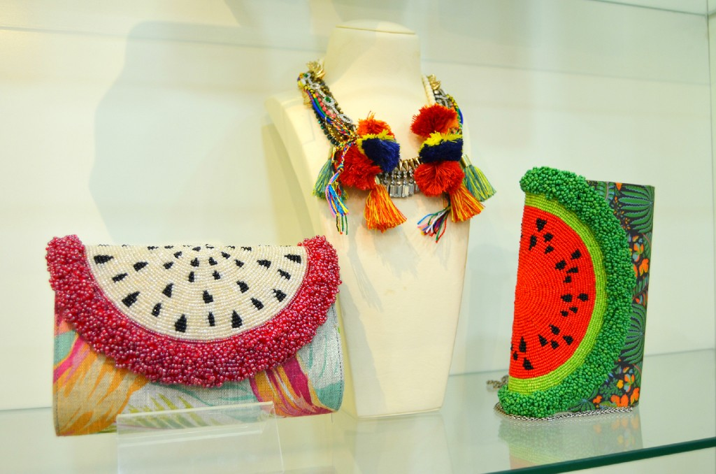 Many of the outfits and accessories at the store are art-inspired pieces.