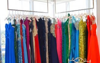 A selection of designer evening dresses at thedressroom.com's JLT showroom