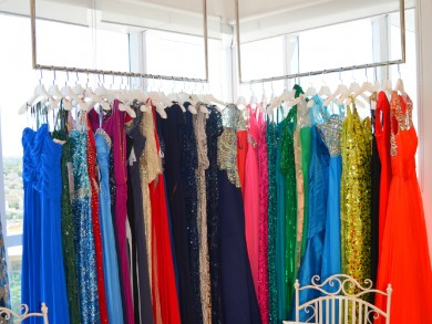 A selection of designer evening dresses at thedressroom.com's JLT showroom
