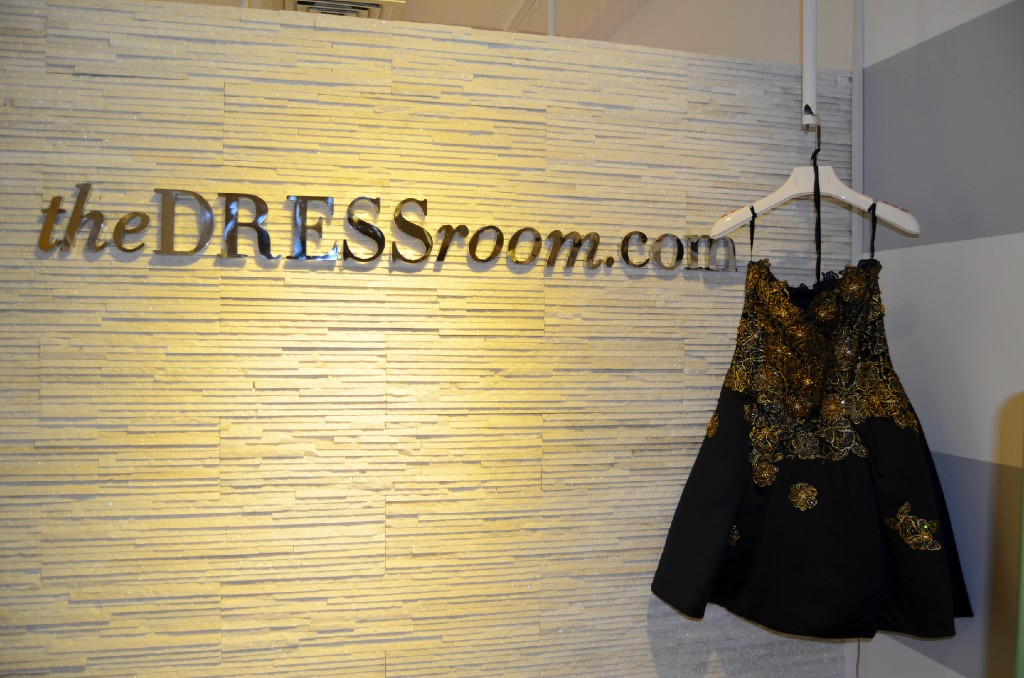 A dress by American-based designer Jovani at the entrance of the Dress Room's showroom.