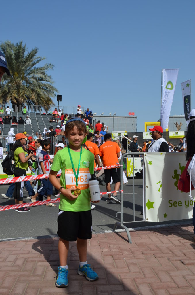 Six and a half year-old Sasha from France after receiving his medal, at the end of the first-ever Dubai kids' race at Dubai Media City's Amphitheatre.