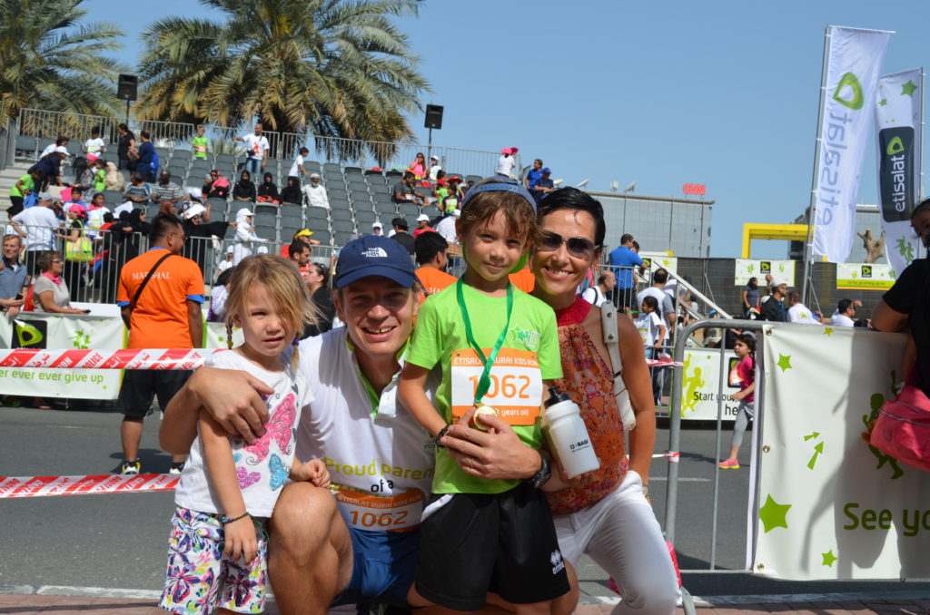 Sasha's parents, younger sister and grandmother (not in the photo) were all present at the race venue in Dubai Media City to support and cheer him at the inaugural Dubai kids' run, on the morning of Friday, March 20, 2015.